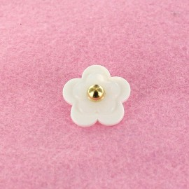 Polyester Button, Beaded Flower - white