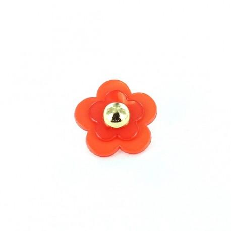 Polyester Button, Beaded Flower - orange