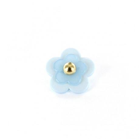Polyester Button, Beaded Flower - light blue