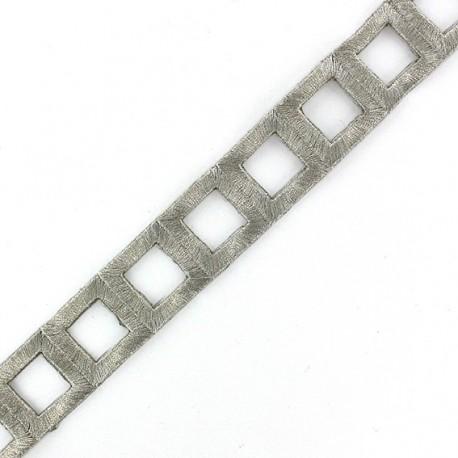 Fusible braid trimming India Squares  x 50cm - silver