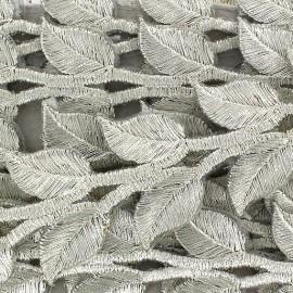 Fusible braid trimming, India, Leaf x 50cm - silver