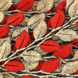 Fusible braid trimming, India, Leaf x 50cm - golden/red