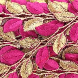 Ruban India Thermocollant Leaf Bicolore Doré/Rose x 50cm