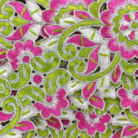 Guipure India Akuti rose/vert x 50cm