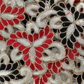 Guipure India Amiya rouge/noir x 50cm