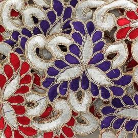 Guipure India Amiya rouge/violet x 50cm