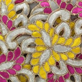 Ruban Guipure India Amiya rose/jaune x 50cm