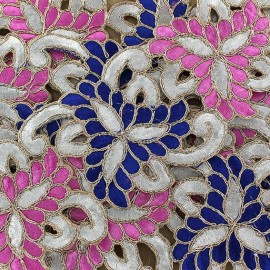 Ruban Guipure India Amiya rose/bleu x 50cm