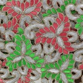 Ruban Guipure India Amiya rose/vert x 50cm