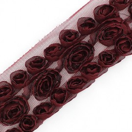 Ribbon flowers on tulle 50 cm - burgundy