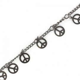 Small sequin chain, peace, 20 cm - silver