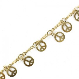Small sequin chain, peace, 20 cm - golden