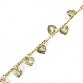 Small sequin chain, love, 20 cm - golden
