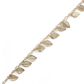 Small sequin chain, leaf, 20 cm - golden