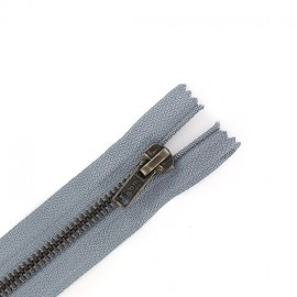 Brass Closed bottom zipper - dark grey