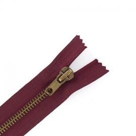 Brass Closed bottom zipper - dark red