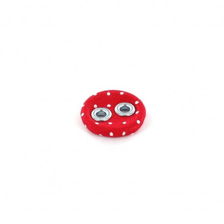 Covered button, with white little dots - red