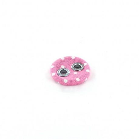 Bouton recouvert à petits pois rose