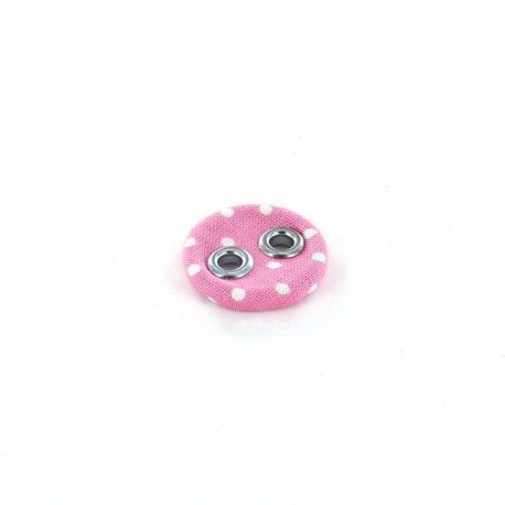 Covered button, with white little dots - pink