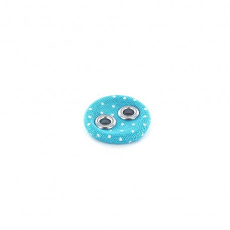 Covered button, with white little dots - turquoise
