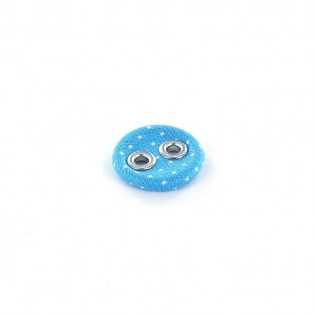 Bouton recouvert à petits pois bleu