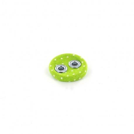 Bouton recouvert à petits pois vert