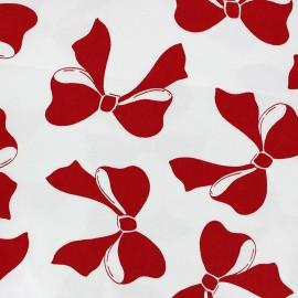 Tissu coton satiné Jolis Noeuds rouge x 10cm