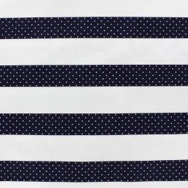 Satiny cotton fabric Stripes - navy blue x 10cm