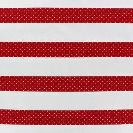 Tissu coton satiné Stripes rouge x 10cm