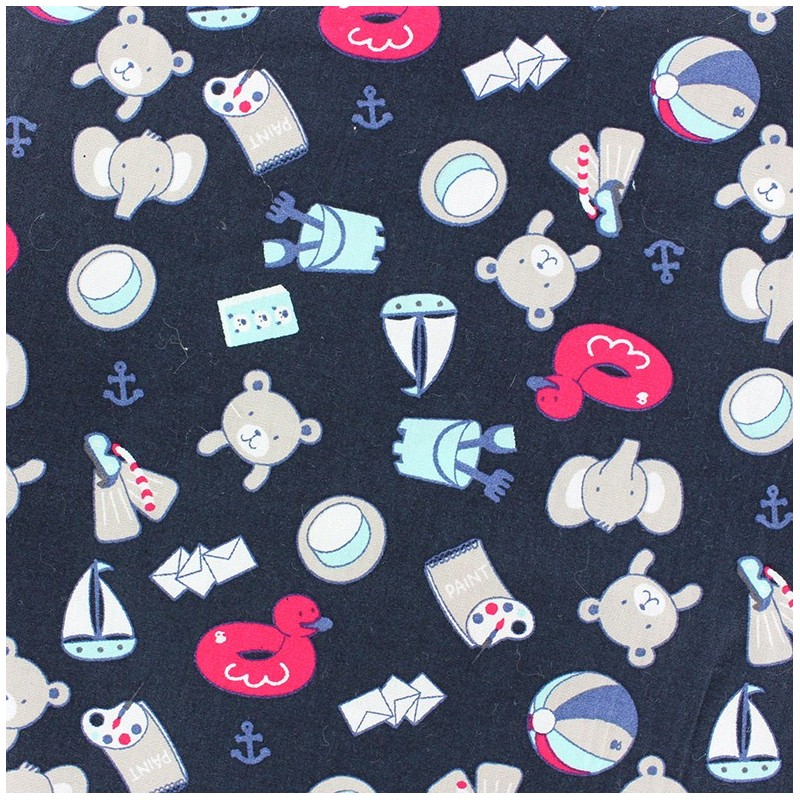 tissus pas cher 100 coton tissu coton sandcastle bleu marine. Black Bedroom Furniture Sets. Home Design Ideas