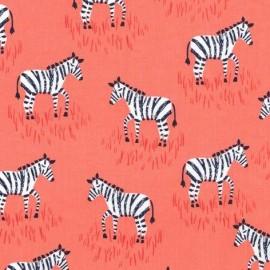 Tissu Mini Zebras Corail x 10cm