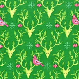 Tissu Festive Nest fond vert x 10cm