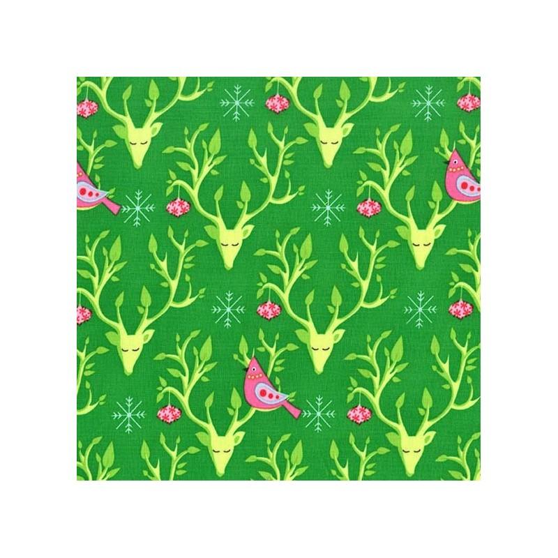 tissus pas cher 100 coton tissu festive nest fond vert. Black Bedroom Furniture Sets. Home Design Ideas