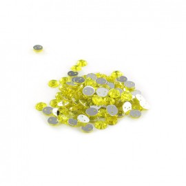 Strass rond à coudre India jaune clair (lot de 100)