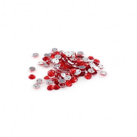 Sew-on cone India rhinestones - red (100 pcs)