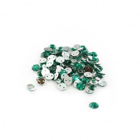 Sew-on cone India rhinestones - emerald green (100 pcs)