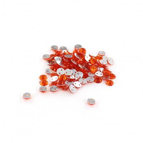 Sew-on cone India rhinestones - orange (100 pcs)