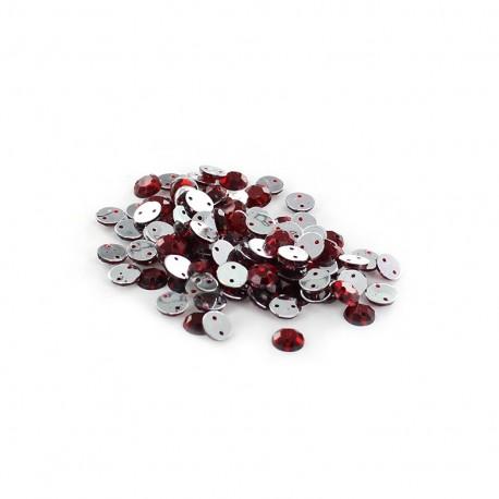 Sew-on cone India rhinestones - garnet red (100 pcs)