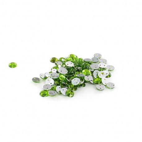 Sew-on cone India rhinestones - light green (100 pcs)