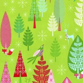 Tissu Winter Wood fond vert clair x 63,5cm
