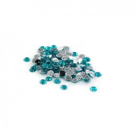 Sew-on cone India rhinestones - green blue (100 pcs)