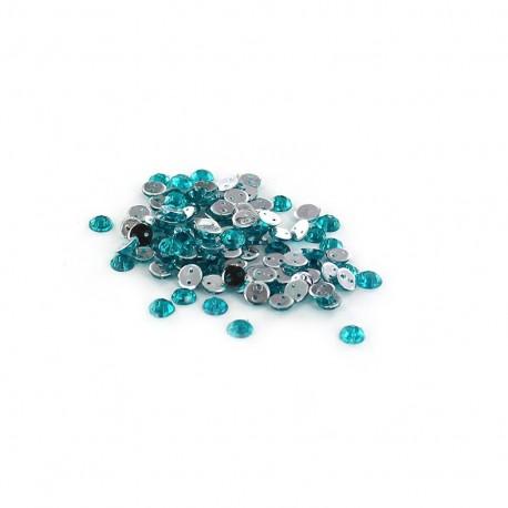 Sew-on cone India rhinestones - green blue (100 pcs)