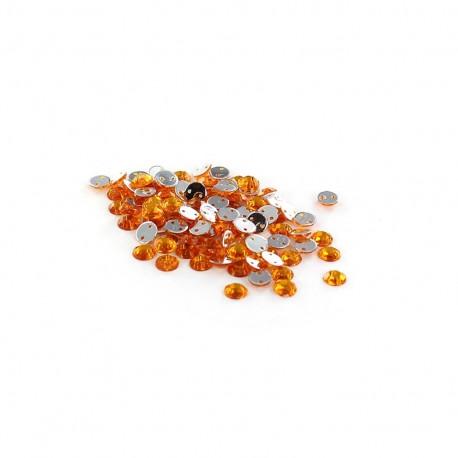 Sew-on cone India rhinestones - light orange (100 pcs)