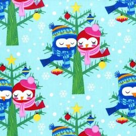 Tissu Christmas Lovebirds fond bleu ciel x 20cm