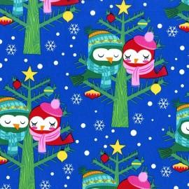 Tissu Christmas Lovebirds fond bleu x 20cm