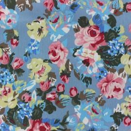 Tissu jeans Fleurs Lili bleu x 10cm