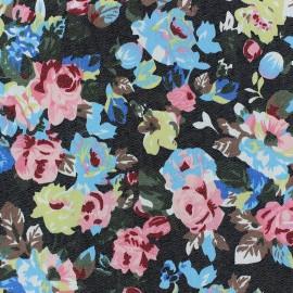Denim fabric Fleurs Lili - black x 10cm