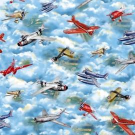 Tissu Wingman - Blue Vintage planes x 60cm