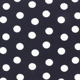 Tissu Lycra gaufré pois blanc fond marine x 10cm