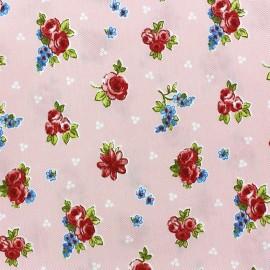 Tissu jeans Fleurs Juliette rose x 10cm